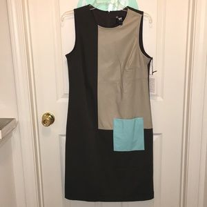 W by Worth color block, lined sheath dress; size 6